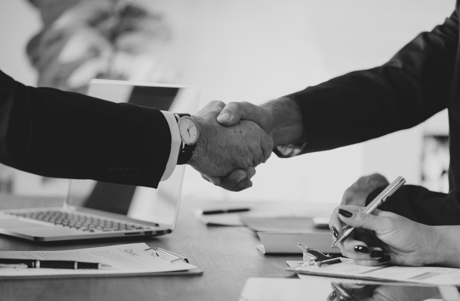 agreement, two men shaking hands, advisor with client